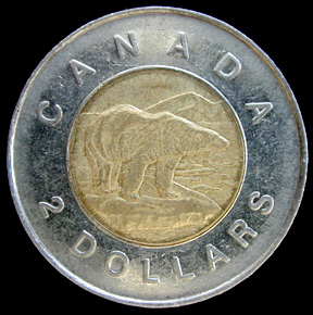 photo of the tail-side of Canada's two-dollar coin