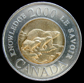 photo of the tail-side of Canada's two-dollar coin, year-2000 edition