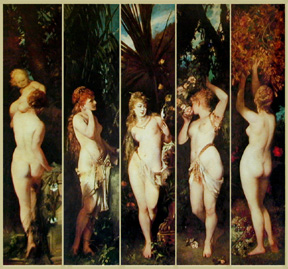 "An old-fashioned but not so old standard of beauty for the female body, ""The five Senses"", paining by Hans makart"