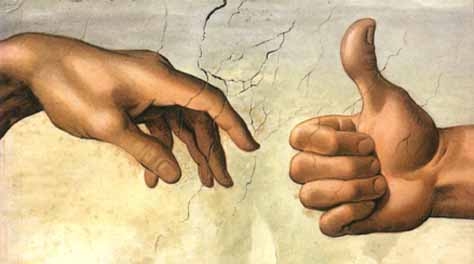 "From the cover of ""Not Guilty :  In Defence of the Modern Man,""  by David thoms.  The image is an adaptation from Michael Angelo's Creation (of Adam), where in that adpation God gives the ""thumb-up"" after seeing what he has produced with Adam"