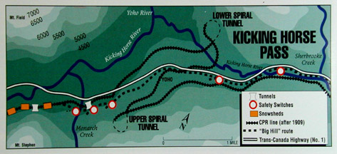 "Map showing ""spiral"" railroad tunnels at Kicking Horse Pass"