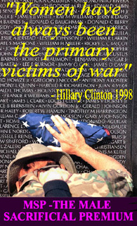 A photo questioning Hillary Clinton's assertion  that women have always been the primary victims of war
