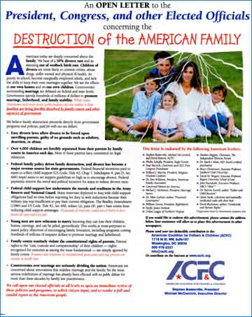 ACFC poster with an appeal to the parents of America