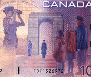 "Section of Canada's ten-dollar bill, showing the ""new"" soldiers celeprating the remembrance of the old soldier who had to make true sacrifices"