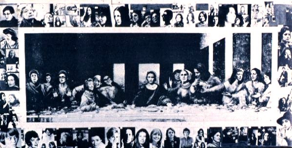"Feminist ""last supper"" --The Apostels have been replaced with feminists in Leonardo Davinci;s Last Supper"