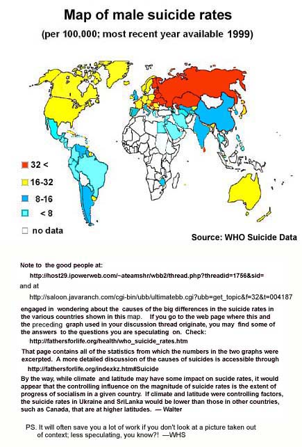 Map of world male suicide rates