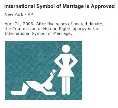 "a new international ""marriage symbol"" Not really.  It's a joke."