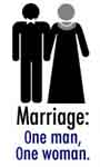 Marriage: one man, one woman