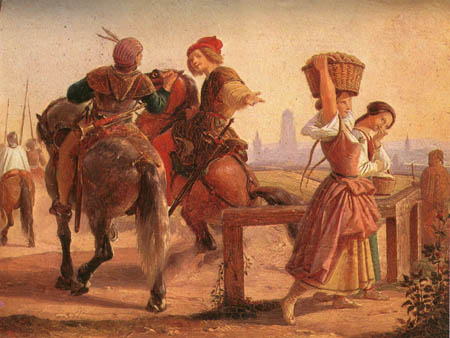 Paining by Alfred Rethel (1816-1859) 'Soldiers and Girls'