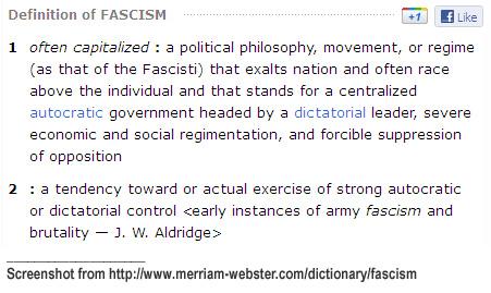 Definition of fascism in Webster's Online Dictionary