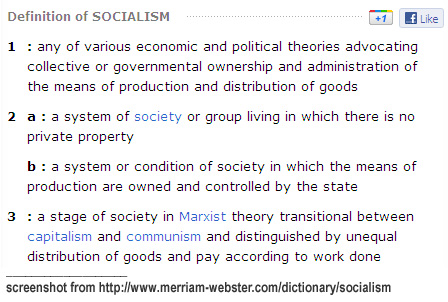 Definition of socialism in Webster's Online Dictionary