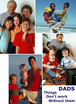 montage of four photos with the theme: 'A father is the key to family'