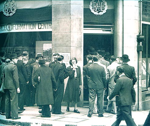Men queue outside an RAF recruiting office in London on the early morning of June 17th,1940, waiting to volunteer as aircrew.